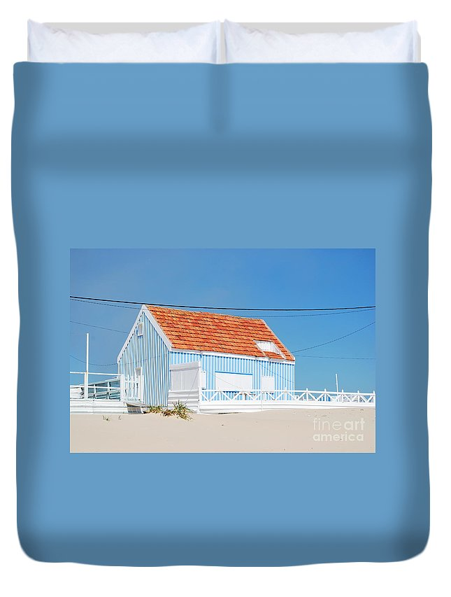 Architecture Duvet Cover featuring the photograph Blue Fisherman House by Luis Alvarenga