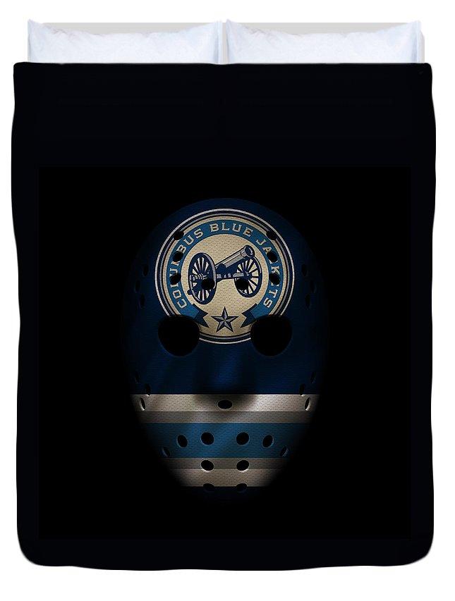 Blue Jackets Duvet Cover featuring the photograph Blue Jackets Jersey Mask by Joe Hamilton