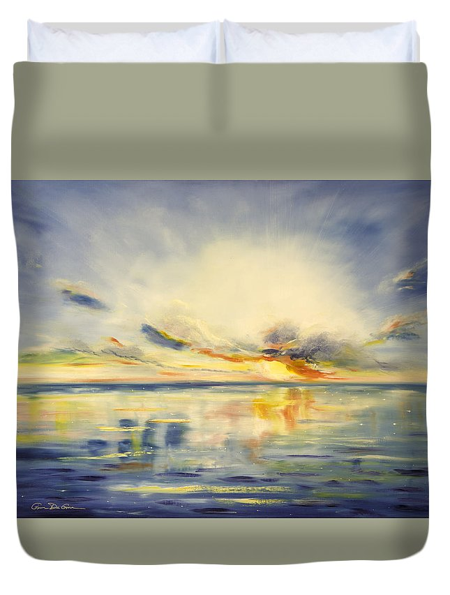 Blue Duvet Cover featuring the painting Blue Sunset by Gina De Gorna