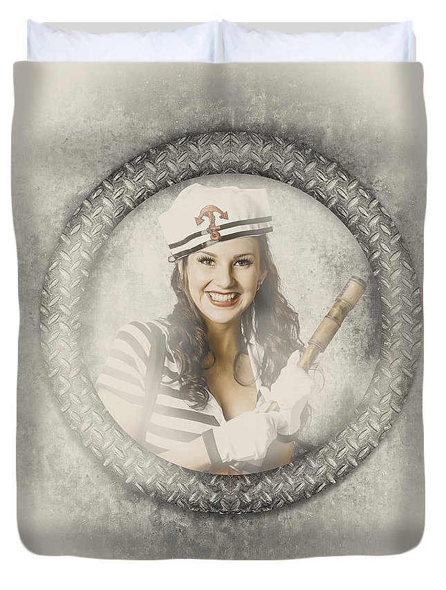 Sailing Duvet Cover featuring the photograph Boating Pin-up Woman On Nautical Shipping Voyage by Jorgo Photography - Wall Art Gallery