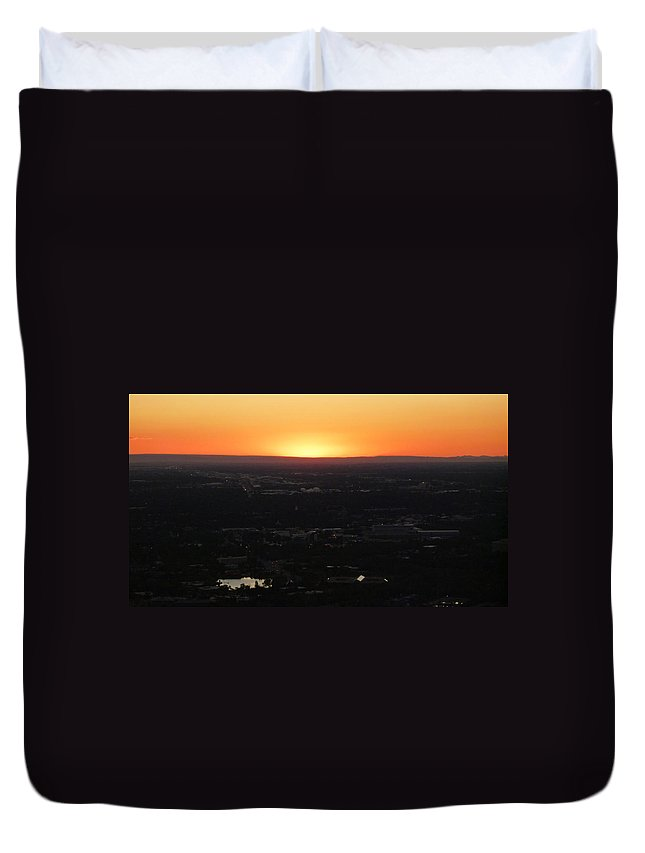 Sun Duvet Cover featuring the photograph Boise Id Sunset by Fernando Delgado