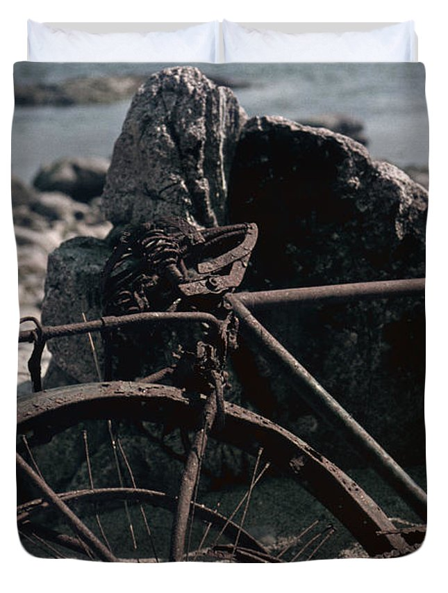 Old Bicycle Duvet Cover featuring the photograph Bornholm Bicycle by David Hohmann