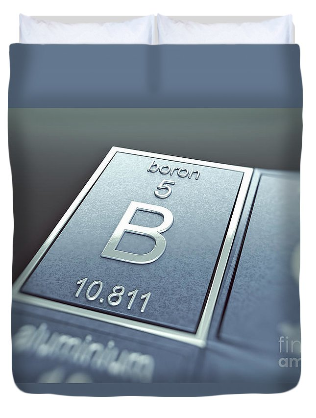 Atomic Number Duvet Cover featuring the photograph Boron Chemical Element by Science Picture Co