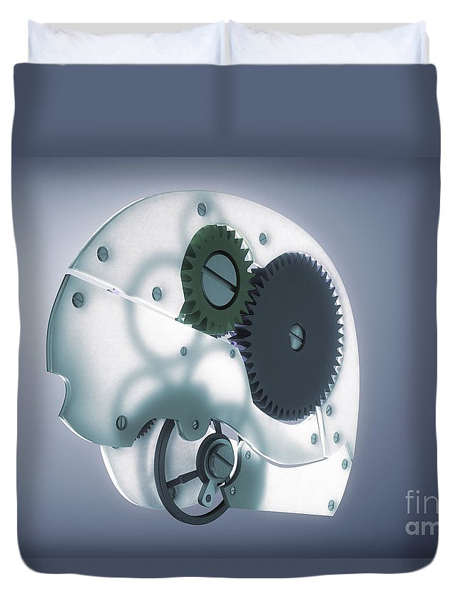 3d Visualisation Duvet Cover featuring the photograph Brain Mechanism by Science Picture Co