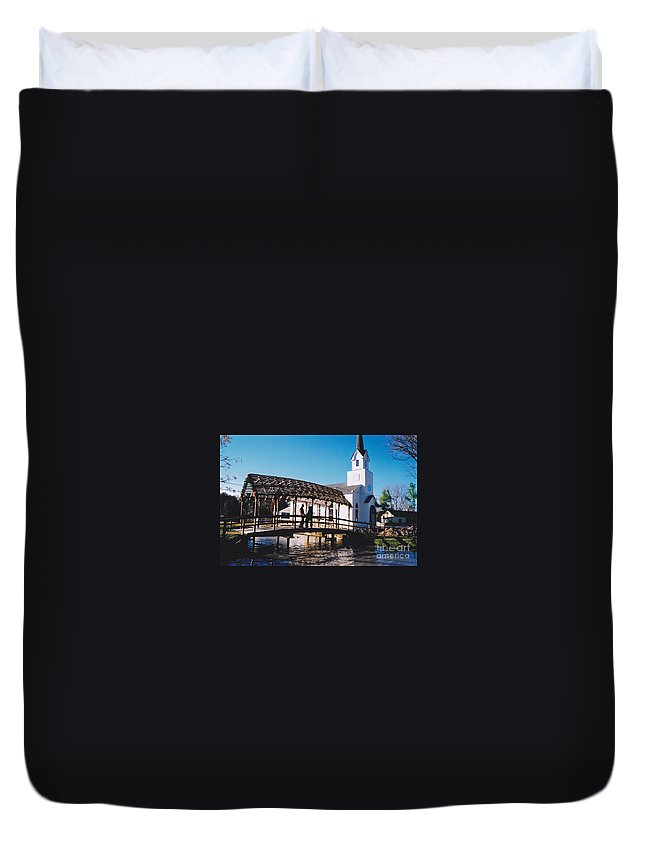 Church Duvet Cover featuring the photograph Bridge Over Water by Michelle Powell