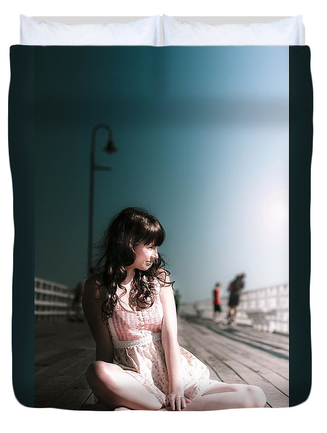 Adult Duvet Cover featuring the photograph Bridge Woman by Jorgo Photography - Wall Art Gallery