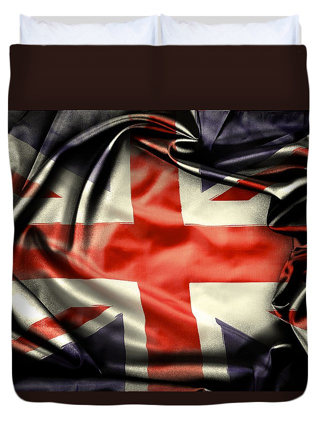 Flag Duvet Cover featuring the photograph British Flag 10 by Les Cunliffe
