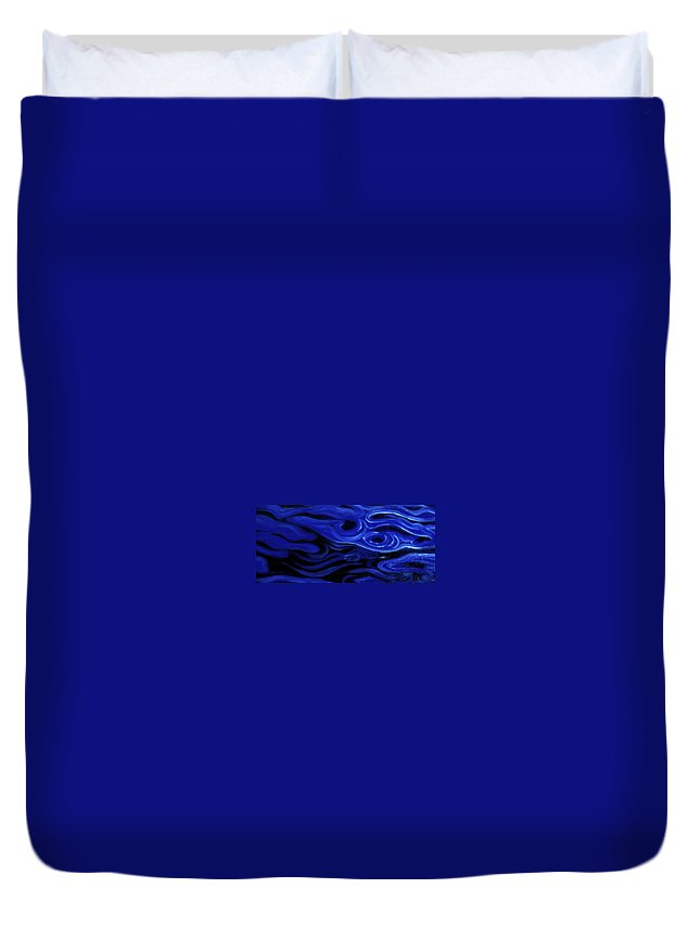 Enio Duvet Cover featuring the mixed media Brush Strokes In Blue by Genio GgXpress