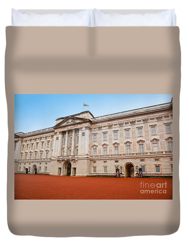 Guard Duvet Cover featuring the photograph Buckingham Palace In London Uk by Michal Bednarek