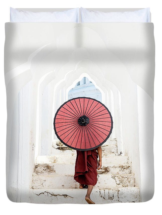 Steps Duvet Cover featuring the photograph Buddhist Monk Walking Along Temple by Martin Puddy