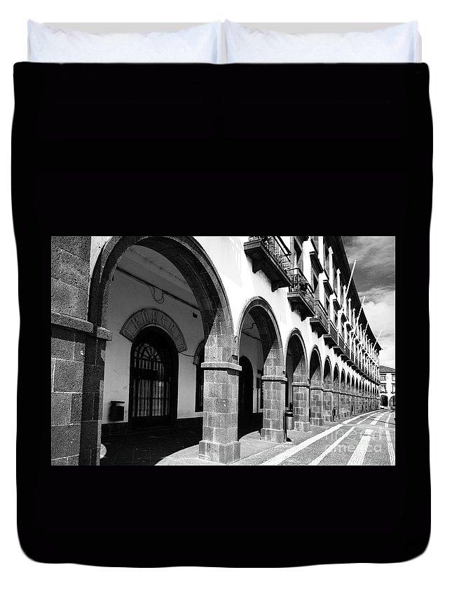 Ponta Delgada Duvet Cover featuring the photograph Buildings In Ponta Delgada by Gaspar Avila