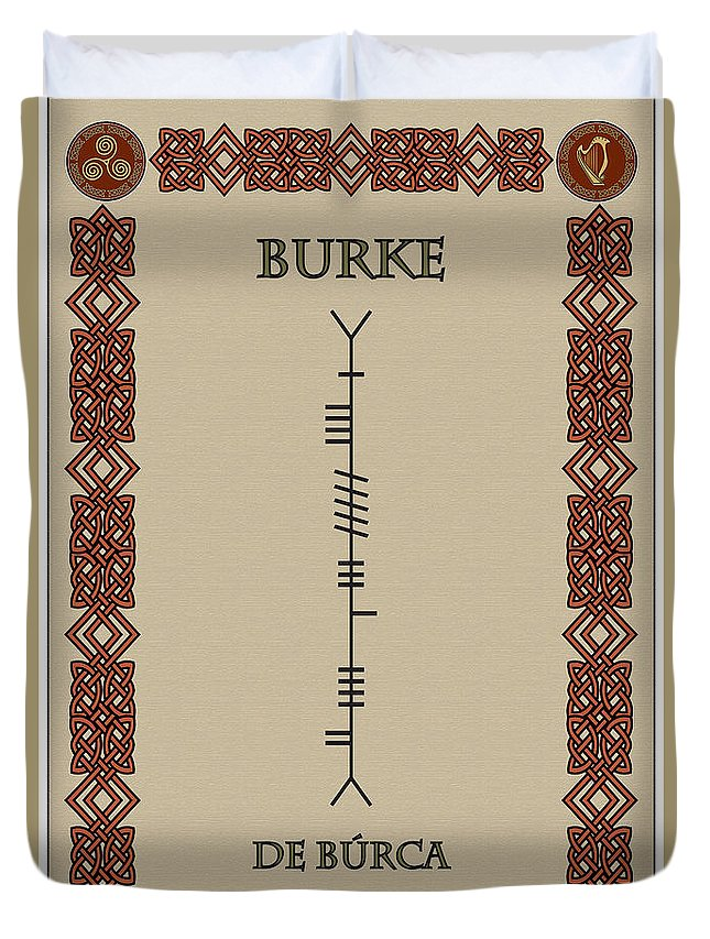 Burke Duvet Cover featuring the digital art Burke Written In Ogham by Ireland Calling