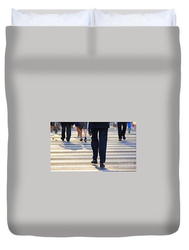 Adult Duvet Cover featuring the photograph Business People Background by Michal Bednarek