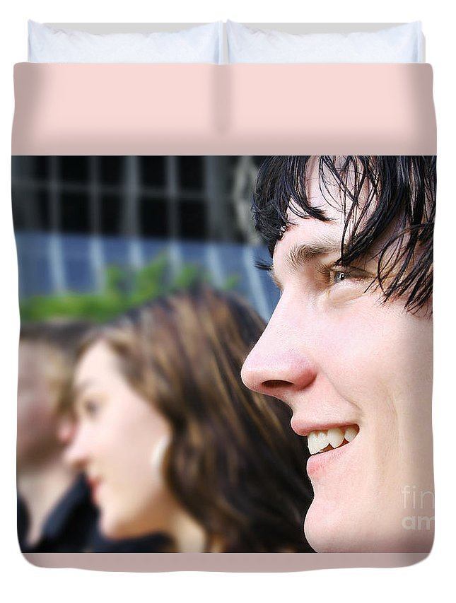 Happy Duvet Cover featuring the photograph Business Team by Jorgo Photography - Wall Art Gallery