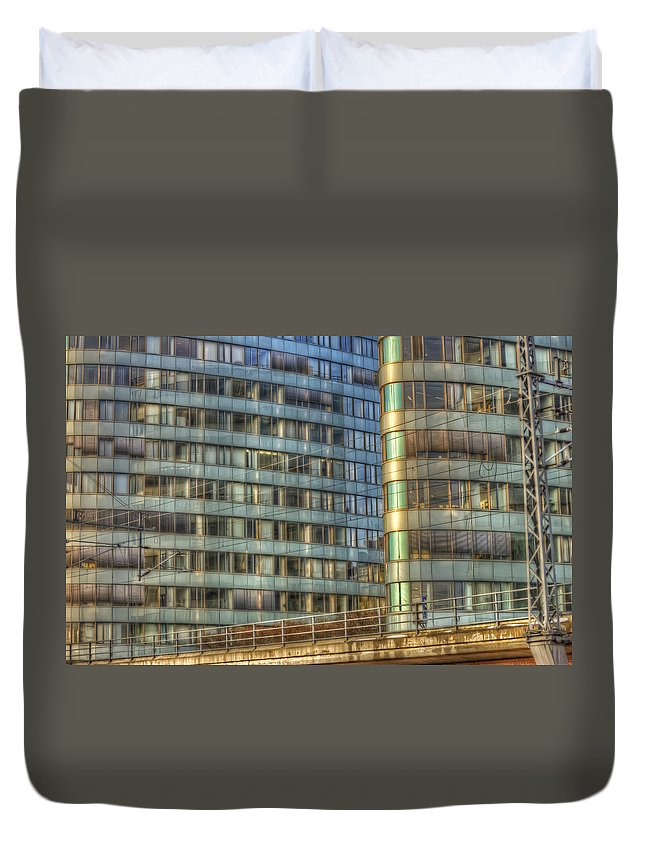Architecture Duvet Cover featuring the digital art Bvg Building by Nathan Wright