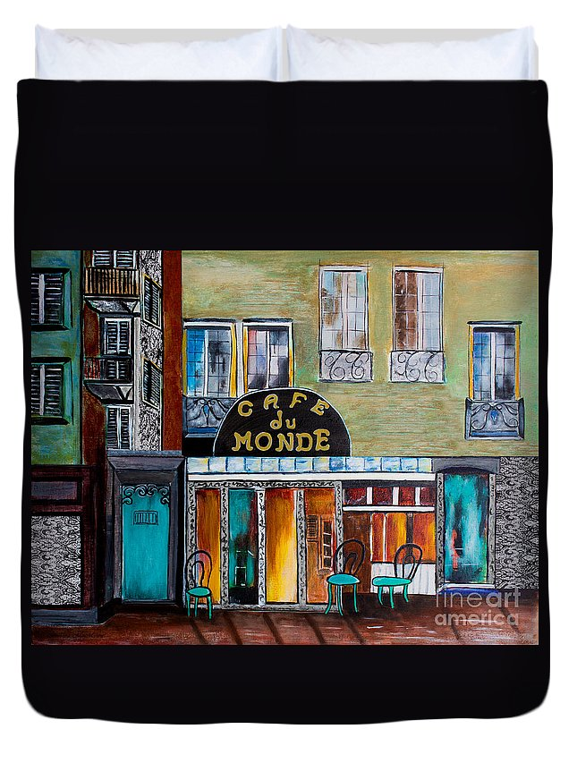 Cafe Duvet Cover featuring the painting Cafe Du Monde by Barbara McMahon
