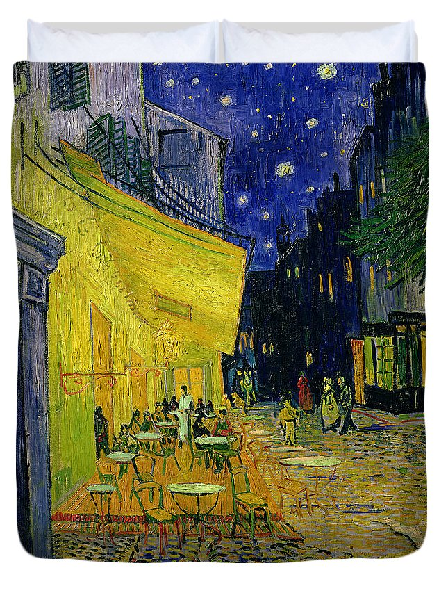 Cafe Terrace Duvet Cover featuring the painting Cafe Terrace Arles by Vincent van Gogh