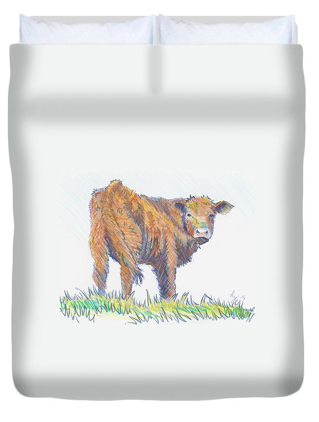 Calf Duvet Cover featuring the drawing Calf by Mike Jory