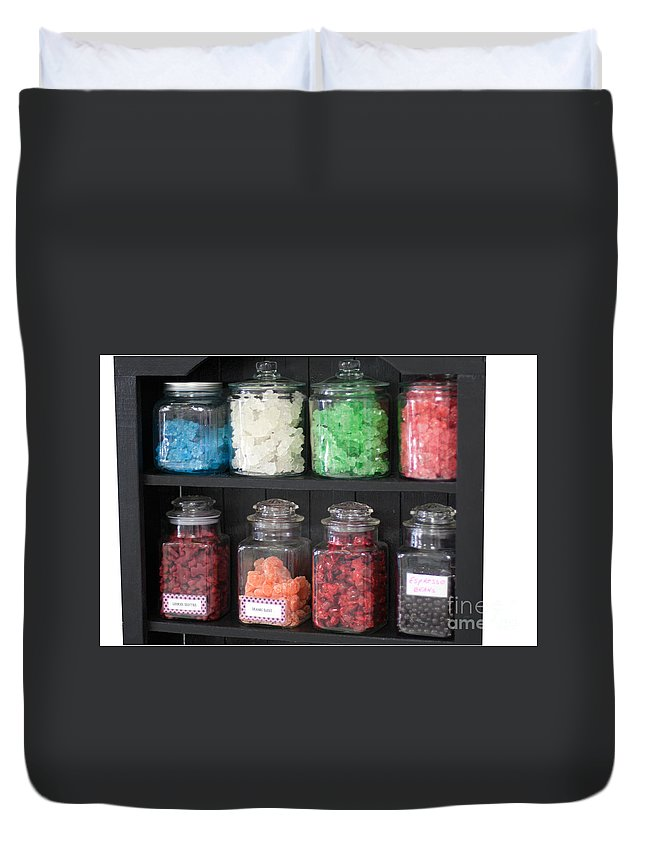 Assortment Duvet Cover featuring the photograph Candy In Container On Store Shelf by Gunter Nezhoda