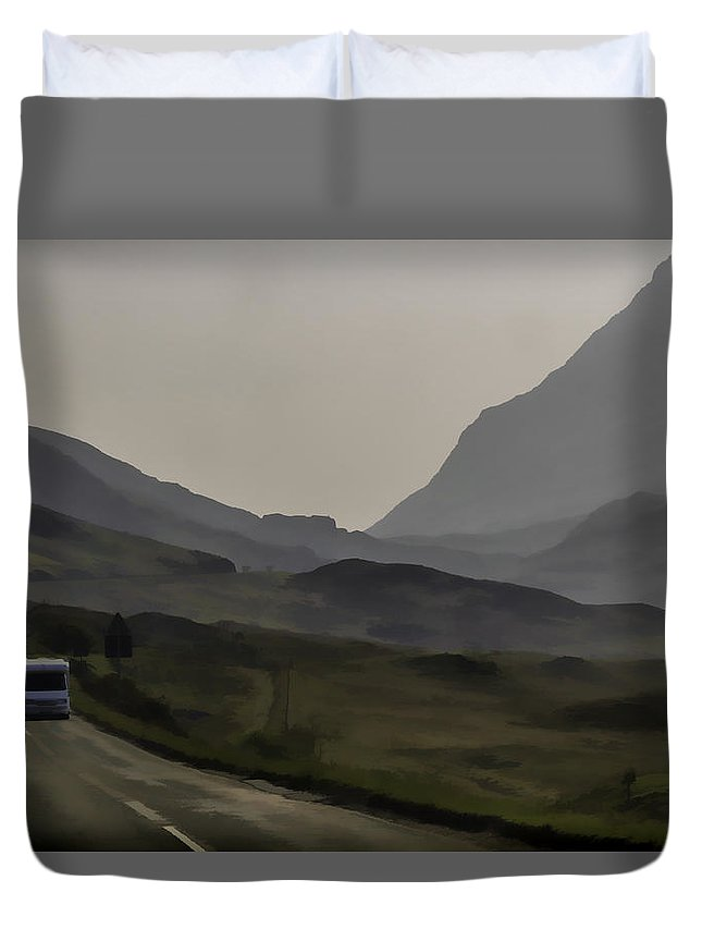 2 Lane Highway Duvet Cover featuring the photograph Cars And Other Vehicles In The Scottish Highlands by Ashish Agarwal