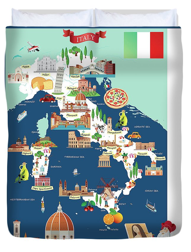 Adriatic Sea Duvet Cover featuring the digital art Cartoon Map Of Italy by Drmakkoy
