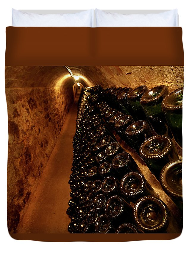 Arch Duvet Cover featuring the photograph Catalonia Wine Region Cellars by Andrea Pistolesi