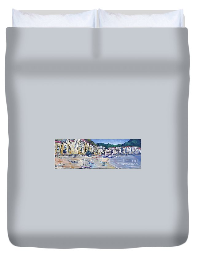 Cefalu Duvet Cover featuring the painting Cefalu 3 by Jeffrey Williams