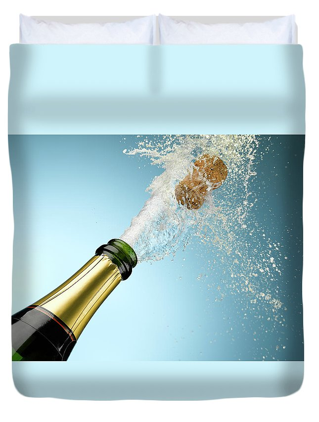 Celebration Duvet Cover featuring the photograph Champagne And Cork Exploding From Bottle by Andy Roberts