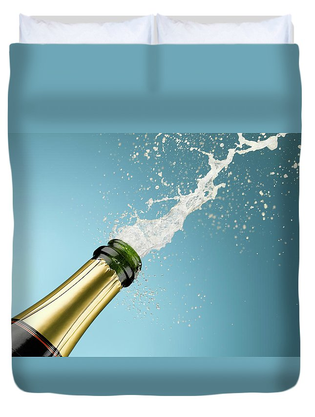 Celebration Duvet Cover featuring the photograph Champagne Exploding From Bottle by Andy Roberts