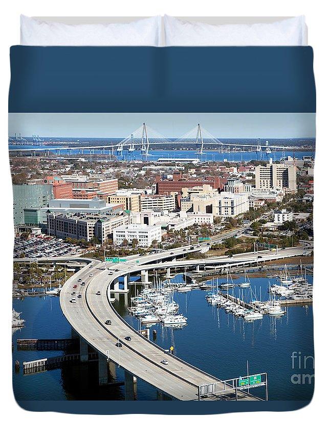 Robert Duvet Cover featuring the photograph Charleston Waterfront And Marina South Carolina by Bill Cobb