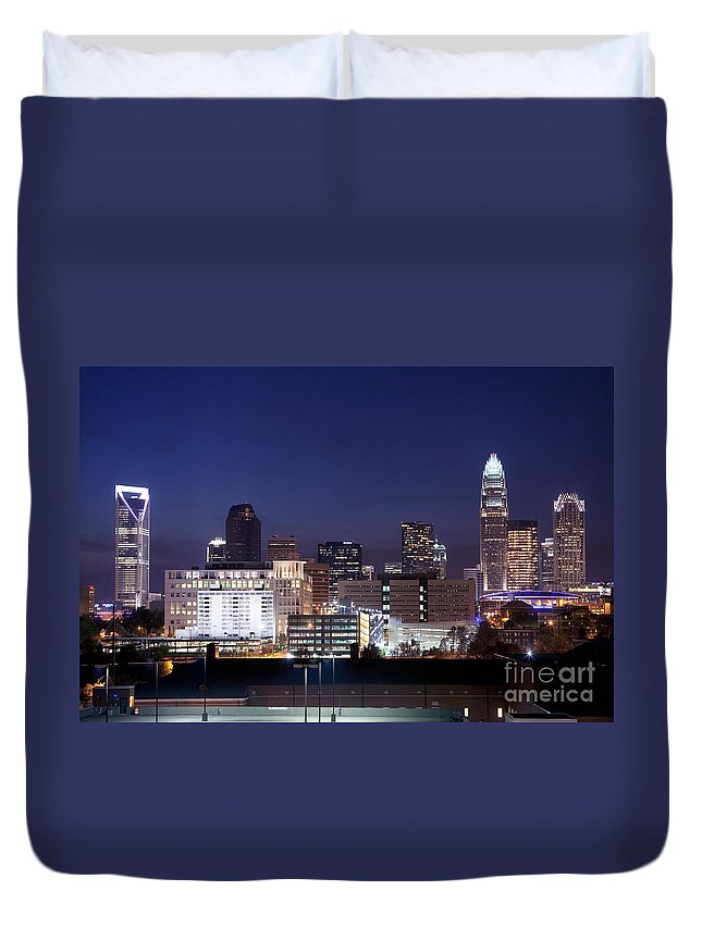 Carolina Duvet Cover featuring the photograph Charlotte Skyline At Dusk by Bill Cobb
