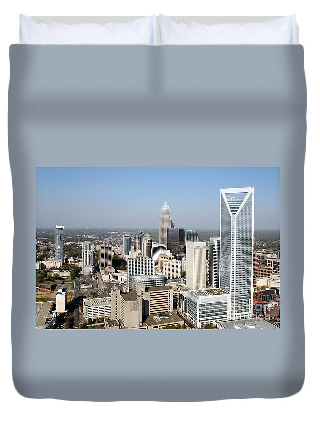 Duke Energy Center Duvet Cover featuring the photograph Charlotte Skyline by Bill Cobb