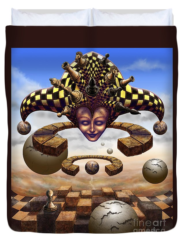 Surrealism Duvet Cover featuring the painting The Chess Master by Serge M