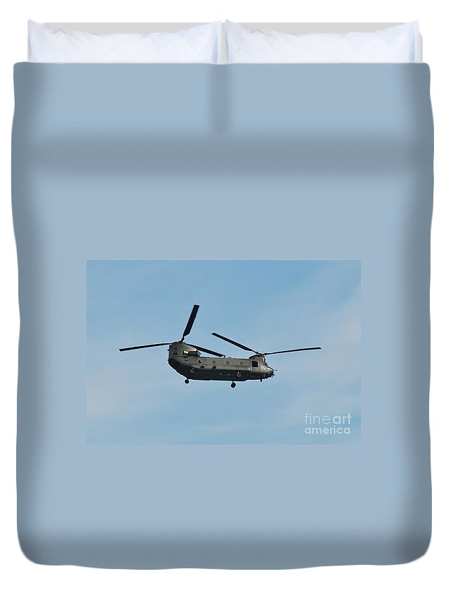 Chinook Duvet Cover featuring the photograph Chinook Hc2 Helicopter by David Fowler