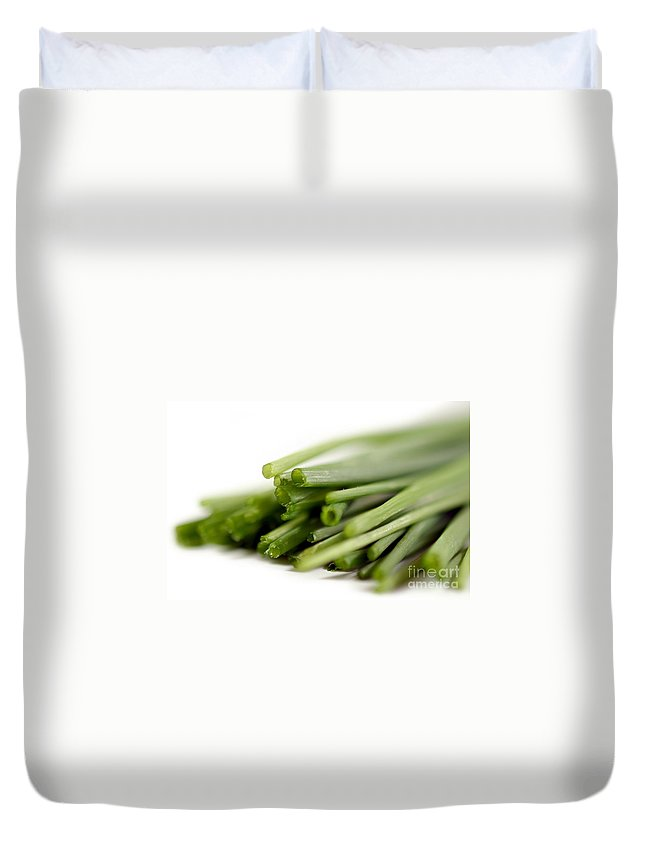 Isolated Duvet Cover featuring the photograph Chives by Henrik Lehnerer
