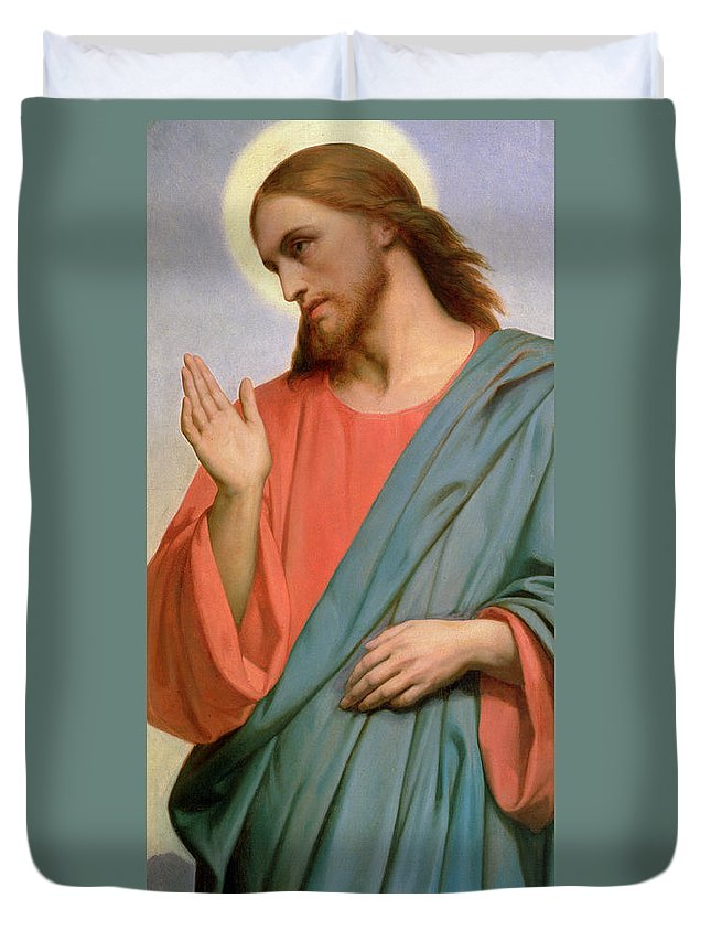 Jesus Duvet Cover featuring the painting Christ Weeping Over Jerusalem by Ary Scheffer