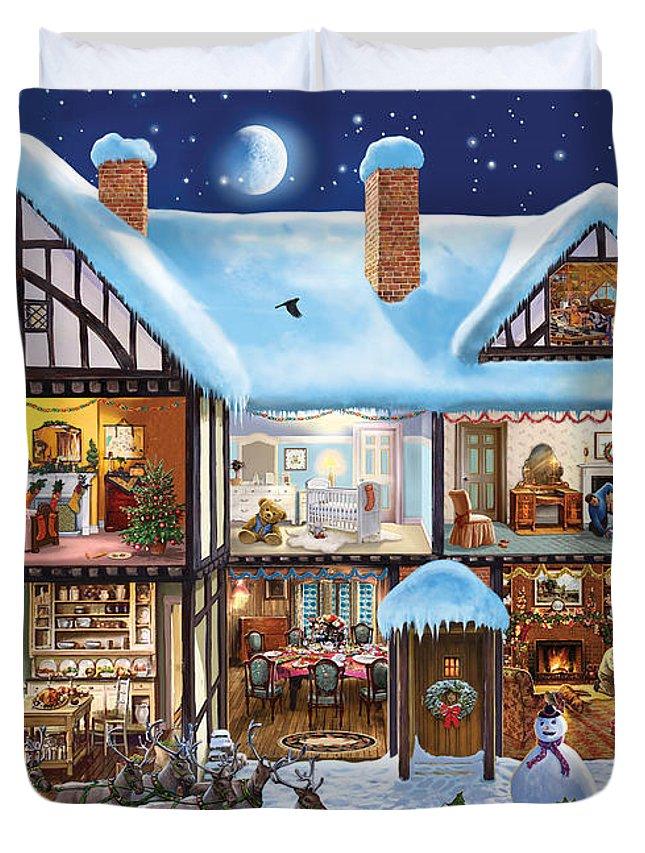 Christmas Duvet Cover featuring the digital art Christmas House by Steve Crisp