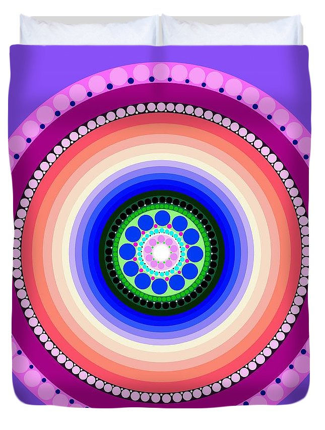 Art Duvet Cover featuring the painting Circle Motif 224 by John F Metcalf