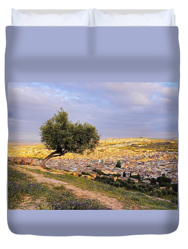 Aerial Duvet Cover featuring the photograph Cityscape Of Fes In Morocco by Karol Kozlowski