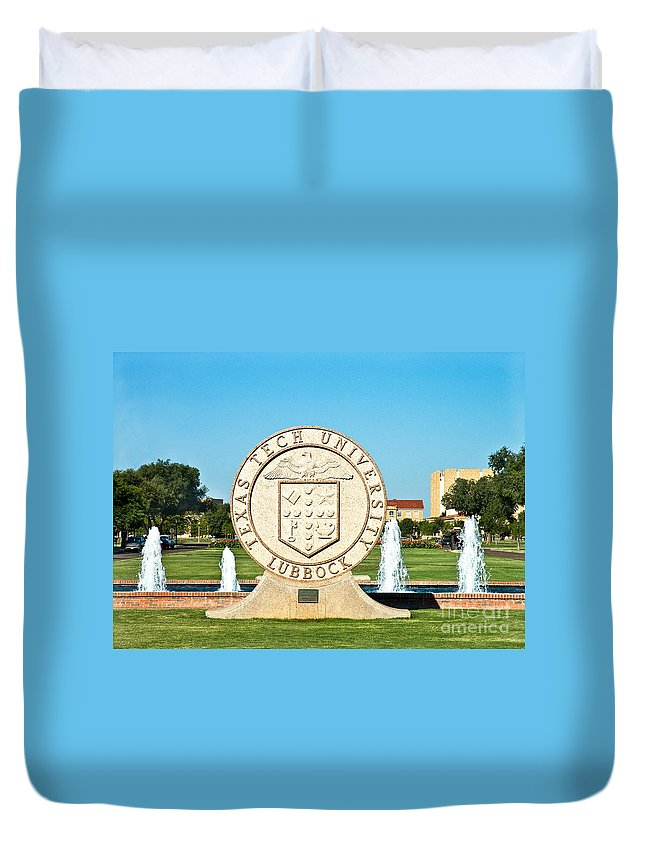 Classical Image Of The Texas Tech University Seal Duvet Cover featuring the photograph Classical Image Of The Texas Tech University Seal by Mae Wertz