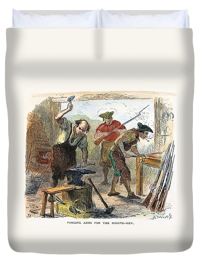 1770s Duvet Cover featuring the photograph Colonial Blacksmith, 1776 by Granger
