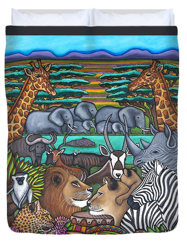 Africa Duvet Cover featuring the painting Colours of Africa by Lisa Lorenz