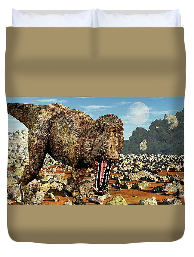 Horizontal Duvet Cover featuring the photograph Confrontation With A Carnivorous by Mark Stevenson