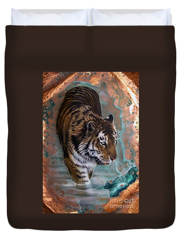 Copper Duvet Cover featuring the painting Copper Tiger I by Sandi Baker