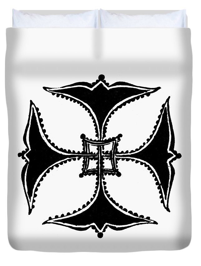 Ancient Duvet Cover featuring the painting Coptic Cross by Granger