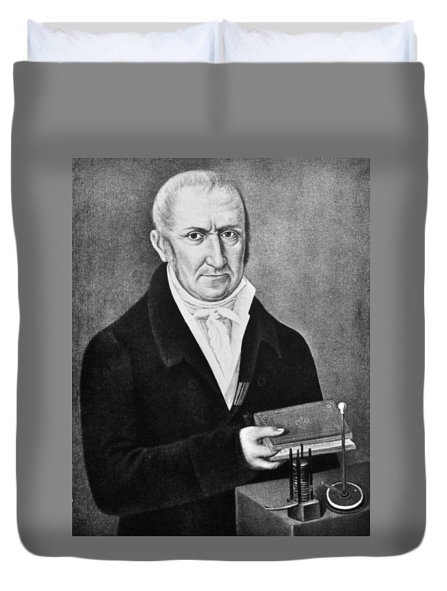 18th Century Duvet Cover featuring the painting Count Alessandro Volta (1745-1827) by Granger