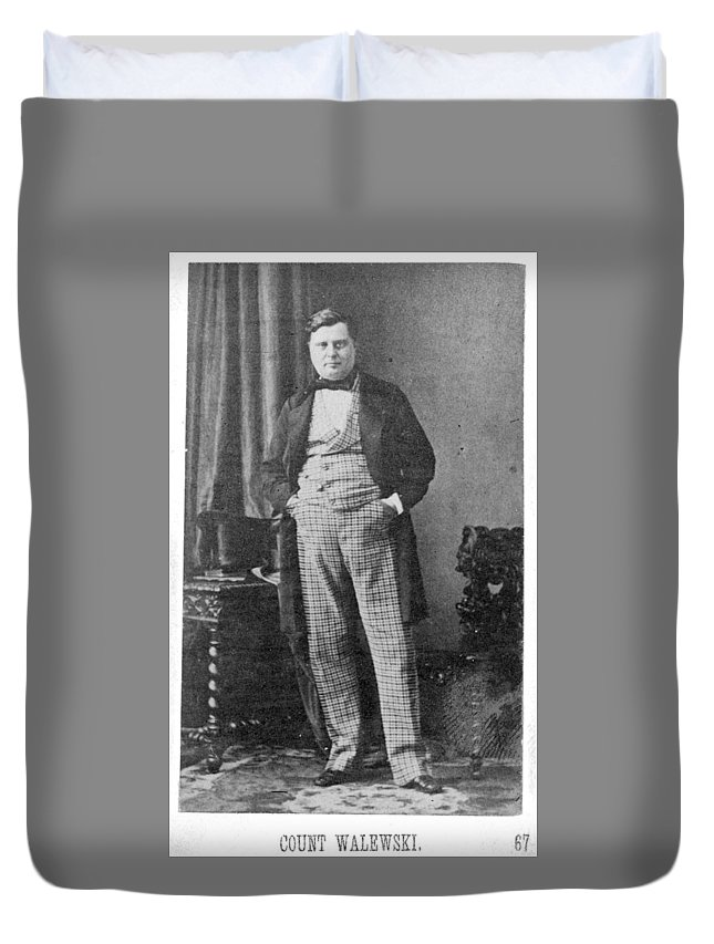 1860 Duvet Cover featuring the photograph Count Walewski (1810-1868) by Granger