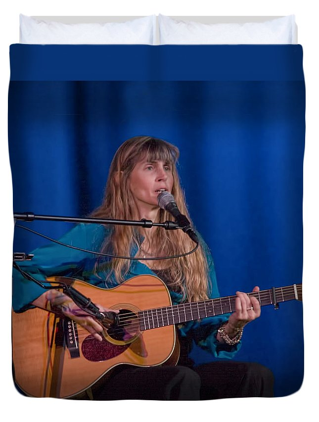 Art Duvet Cover featuring the photograph Country Blues Singer Rory Block In Concert by Randall Nyhof
