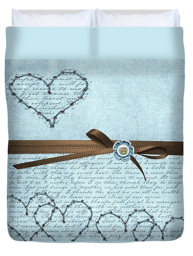 Hearts Duvet Cover featuring the digital art Country Hearts by Debra Miller