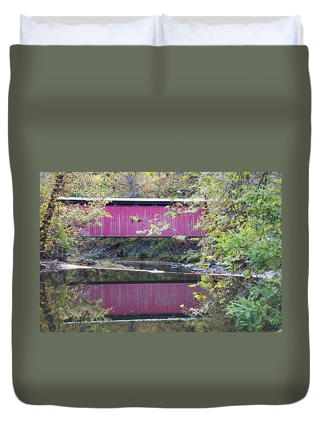 Covered Bridge Along The Wissahickon Creek Duvet Cover featuring the photograph Covered Bridge Along The Wissahickon Creek by Bill Cannon